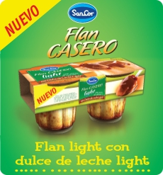 flan casero light con dulce de leche light