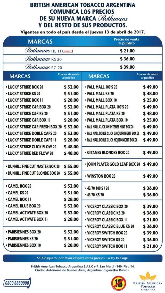Nobleza piccardo lista nuevos precios cigarrillos 2018 for Precios de futones nuevos