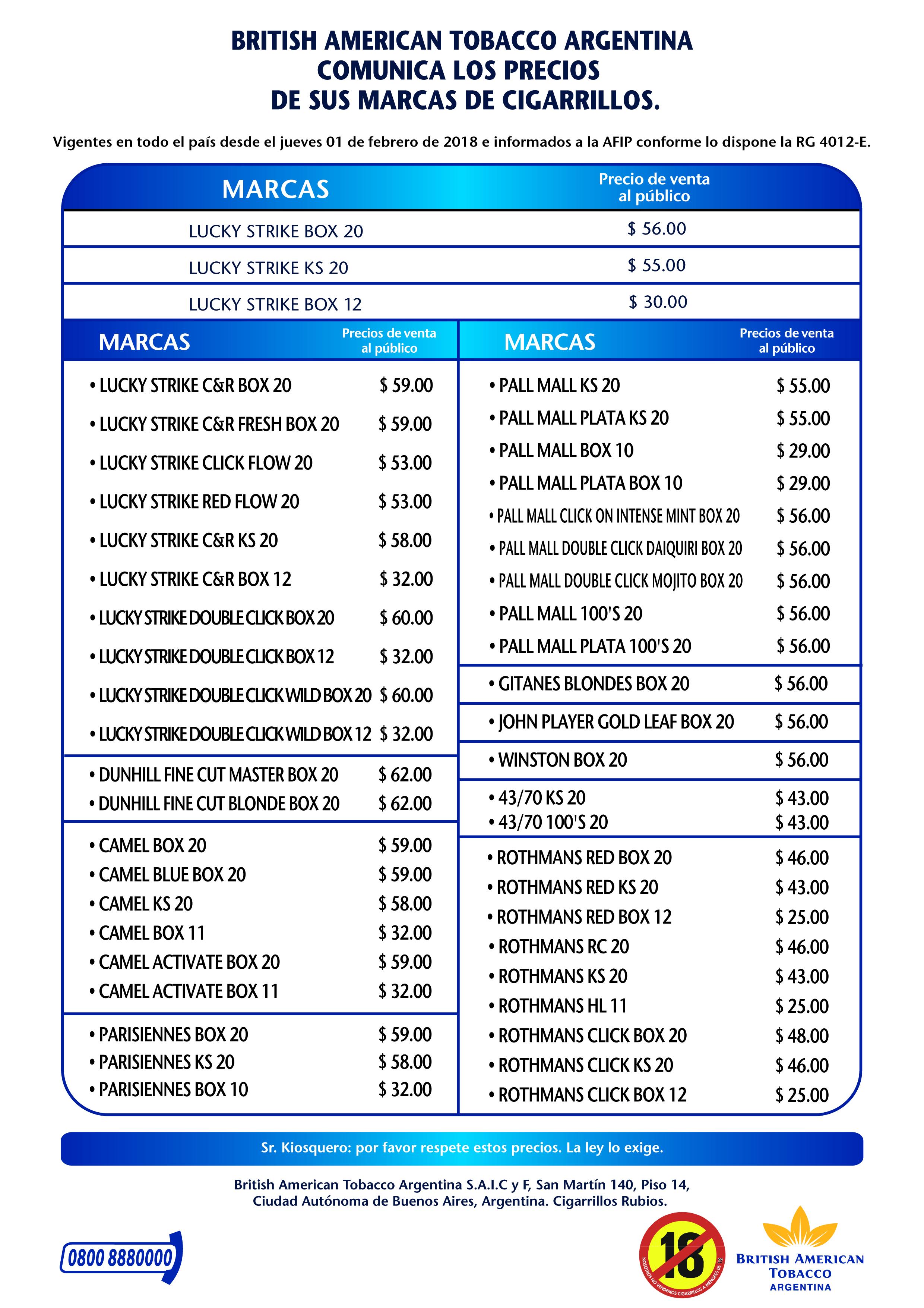 formato de lista de precios