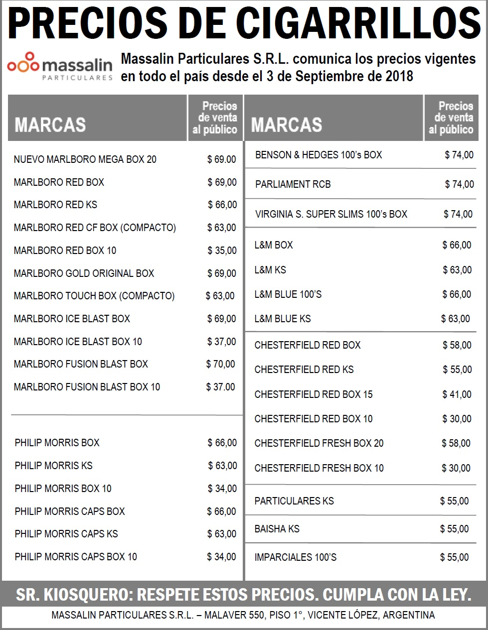 precios massalin septiembre 2018